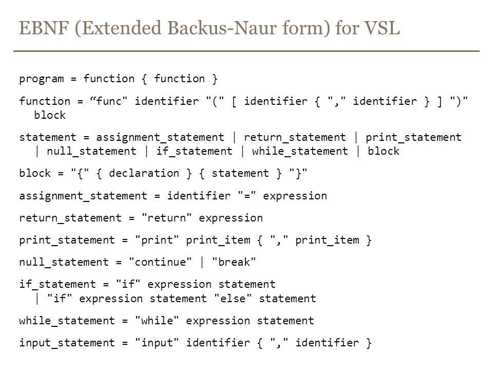 EBNF (Extended Backus-Naur form) for VSL program = function { function } function = func identifier ( [ identifier { , identifier } ] ) block statement = assignment_statement | return_statement | print_statement | null_statement | if_statement | while_statement | block block = { { declaration } { statement } } assignment_statement = identifier = expression return_statement = return expression print_statement = print print_item { , print_item } null_statement = continue | break if_statement = if expression statement | if expression statement else statement while_statement = while expression statement input_statement = input identifier { , identifier }