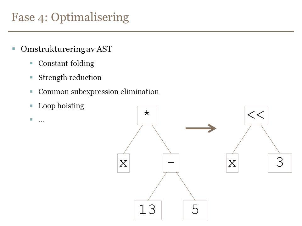Fase 5: Kodegenerering og mer optimalisering  Optimalisert AST  assemblykode  Optimalisering av assemblykoden  Eliminasjon av død kode  Gjenbruk av utregnede mellomresultater  Registerallokering (trengs ikke i stackmaskiner) ...
