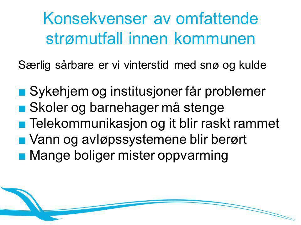 Konsekvenser av omfattende strømutfall innen kommunen Særlig sårbare er vi vinterstid med snø og kulde ■Sykehjem og institusjoner får problemer ■Skole