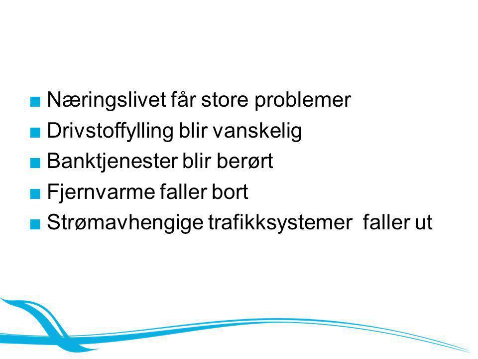 ■Næringslivet får store problemer ■Drivstoffylling blir vanskelig ■Banktjenester blir berørt ■Fjernvarme faller bort ■Strømavhengige trafikksystemer f