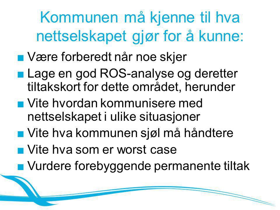 Kommunen må kjenne til hva nettselskapet gjør for å kunne: ■Være forberedt når noe skjer ■Lage en god ROS-analyse og deretter tiltakskort for dette om