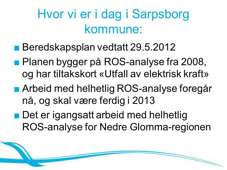 Hvor vi er i dag i Sarpsborg kommune: ■Beredskapsplan vedtatt 29.5.2012 ■Planen bygger på ROS-analyse fra 2008, og har tiltakskort «Utfall av elektris