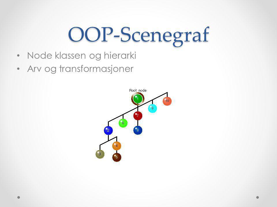 OOP-Scenegraf • Node klassen og hierarki • Arv og transformasjoner
