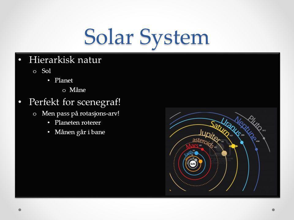 Solar System • Hierarkisk natur o Sol • Planet o Måne • Perfekt for scenegraf.