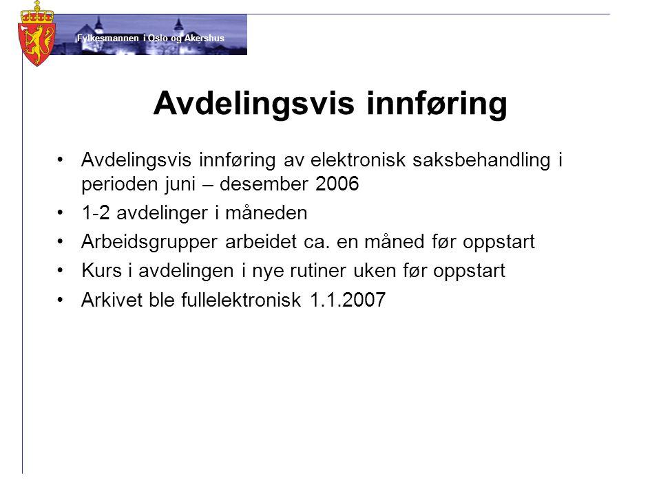 Fylkesmannen i Oslo og Akershus Avdelingsvis innføring •Avdelingsvis innføring av elektronisk saksbehandling i perioden juni – desember 2006 •1-2 avdelinger i måneden •Arbeidsgrupper arbeidet ca.