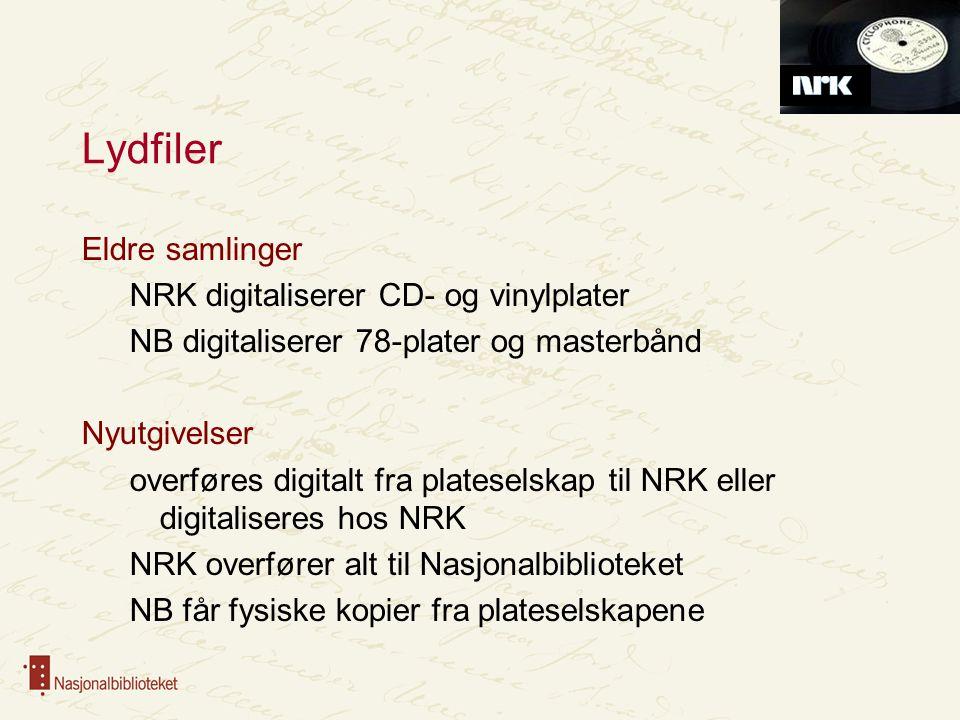 NRK som kilde for metadata NB får tilgang til alle metadata i Digitalt musikkarkiv Plateselskapene avleverer metadata, NRK supplerer og oppgraderer