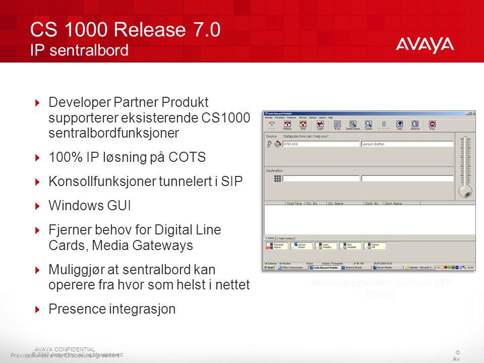 © 2010 Avaya Inc. All rights reserved.  Developer Partner Produkt supporterer eksisterende CS1000 sentralbordfunksjoner  100% IP løsning på COTS  K