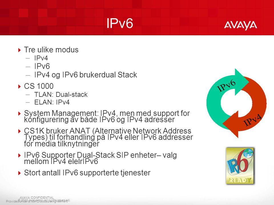© 2010 Avaya Inc. All rights reserved.  Tre ulike modus – IPv4 – IPv6 – IPv4 og IPv6 brukerdual Stack  CS 1000 – TLAN: Dual-stack – ELAN: IPv4  Sys