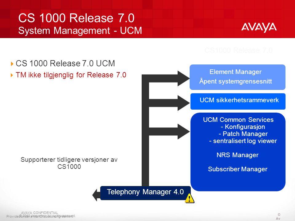© 2010 Avaya Inc. All rights reserved. CS 1000 Release 7.0 System Management - UCM CS1000 Release 7.0 UCM sikkerhetsrammeverk Element Manager Åpent sy