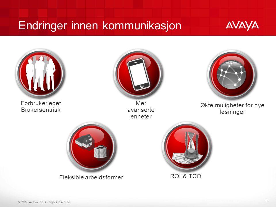 © 2010 Avaya Inc. All rights reserved. Endringer innen kommunikasjon © Avaya Inc. 2010. All rights reserved. Fleksible arbeidsformer Økte muligheter f