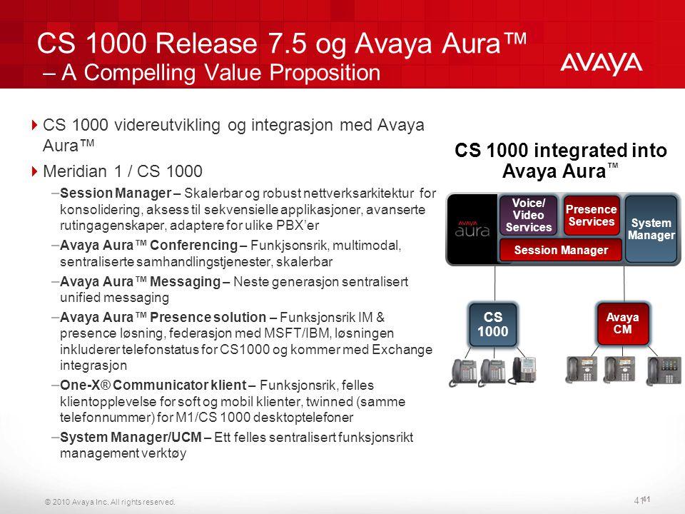 © 2010 Avaya Inc. All rights reserved. 41 CS 1000 Release 7.5 og Avaya Aura™ – A Compelling Value Proposition  CS 1000 videreutvikling og integrasjon