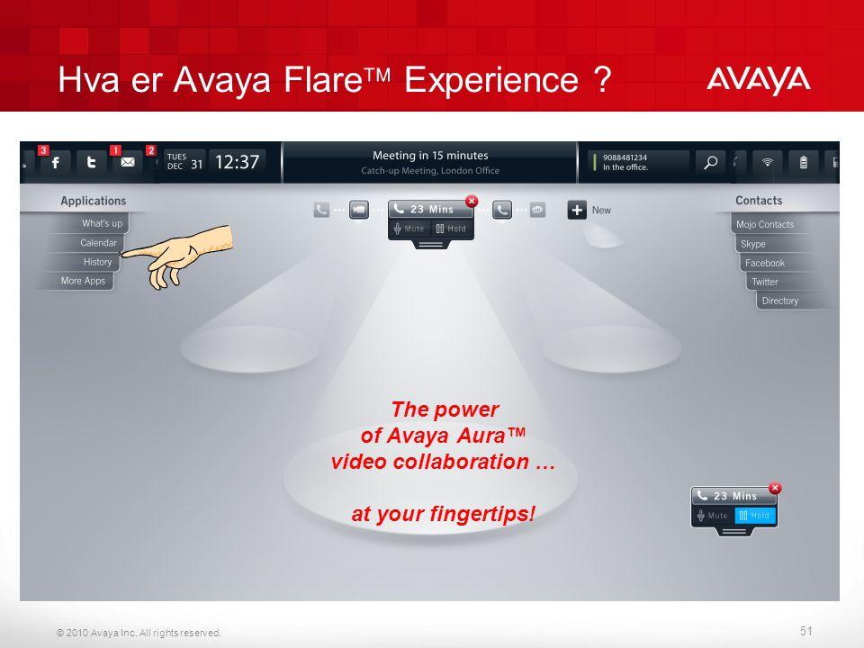© 2010 Avaya Inc. All rights reserved. Hva er Avaya Flare  Experience ? 51 The power of Avaya Aura™ video collaboration … at your fingertips!