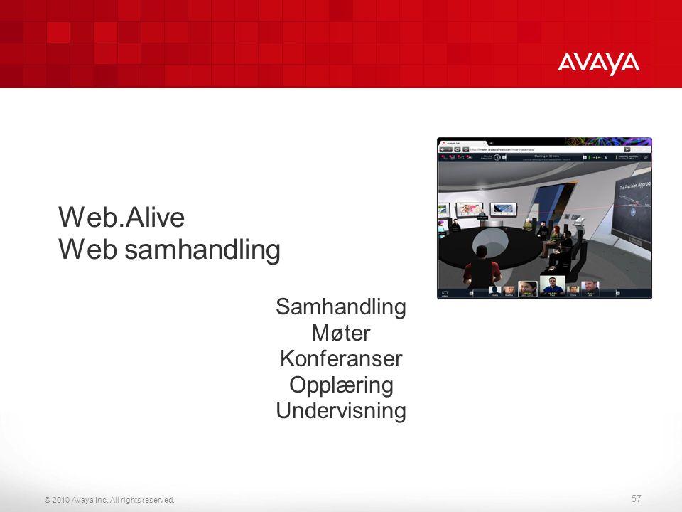 © 2010 Avaya Inc. All rights reserved. Web.Alive Web samhandling Samhandling Møter Konferanser Opplæring Undervisning 57