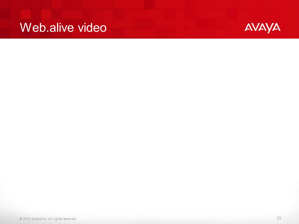 © 2010 Avaya Inc. All rights reserved. Web.alive video 59