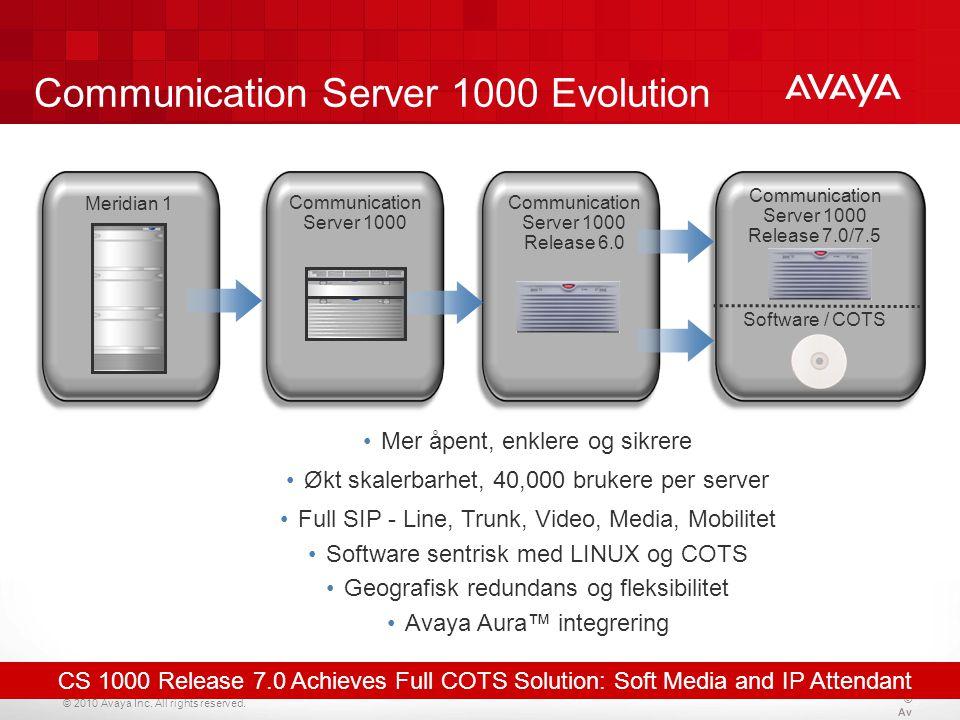 © 2010 Avaya Inc. All rights reserved. Communication Server 1000 Evolution Meridian 1 Communication Server 1000 Release 6.0 Software / COTS Communicat