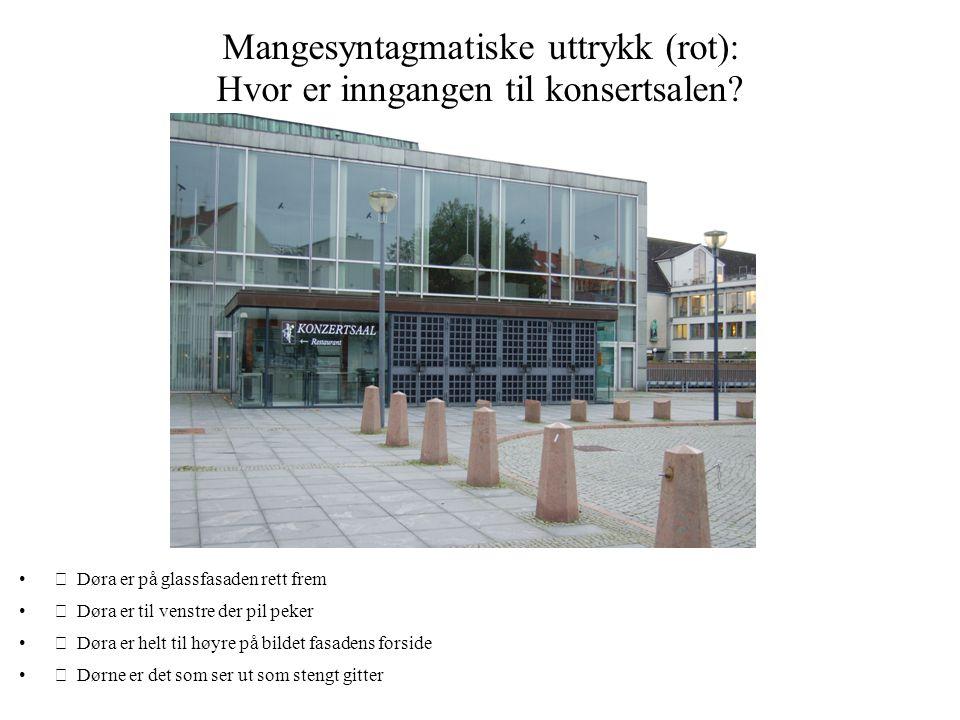 Mangesyntagmatiske uttrykk (rot): Hvor er inngangen til konsertsalen? • Døra er på glassfasaden rett frem • Døra er til venstre der pil peker • Dør