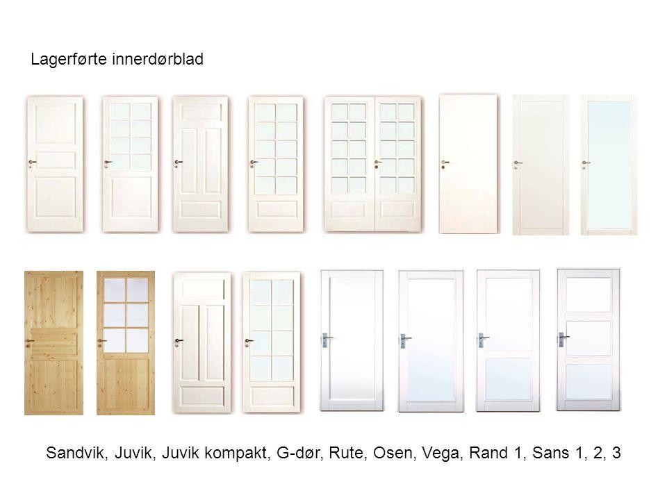 Lagerførte innerdørblad Sandvik, Juvik, Juvik kompakt, G-dør, Rute, Osen, Vega, Rand 1, Sans 1, 2, 3