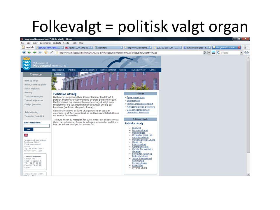 Folkevalgt = politisk valgt organ