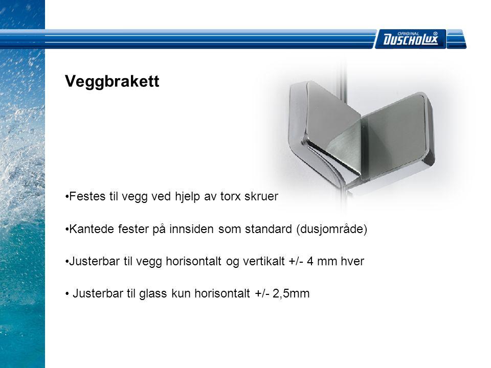 Vegghengsler • Justerbar til vegg horisontalt og vertikalt +/- 4mm hver • Justering til glass er ikke oppgitt • Heve- og senkemekanisme er inkludert • Med smal veggprofil