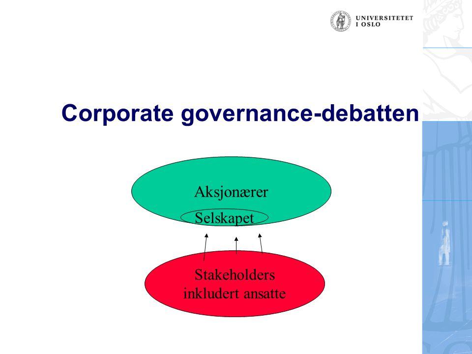 Corporate governance-debatten Aksjonærer Selskapet Stakeholders inkludert ansatte