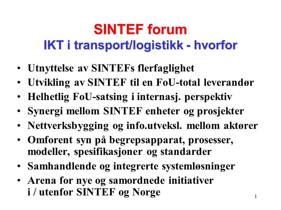 1 SINTEF forum IKT i transport/logistikk - hvorfor •Utnyttelse av SINTEFs flerfaglighet •Utvikling av SINTEF til en FoU-total leverandør •Helhetlig FoU-satsing i internasj.