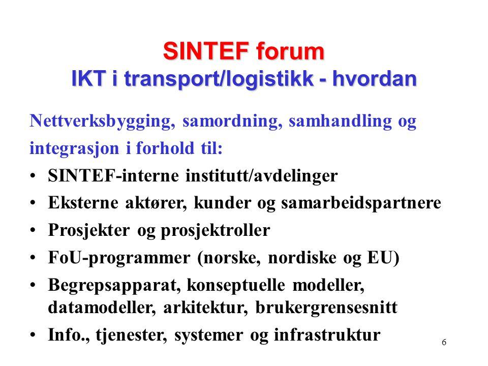 6 SINTEF forum IKT i transport/logistikk - hvordan Nettverksbygging, samordning, samhandling og integrasjon i forhold til: •SINTEF-interne institutt/a