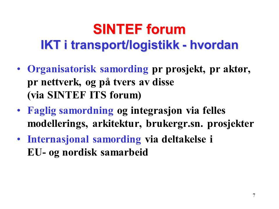 7 SINTEF forum IKT i transport/logistikk - hvordan •Organisatorisk samording pr prosjekt, pr aktør, pr nettverk, og på tvers av disse (via SINTEF ITS forum) •Faglig samordning og integrasjon via felles modellerings, arkitektur, brukergr.sn.