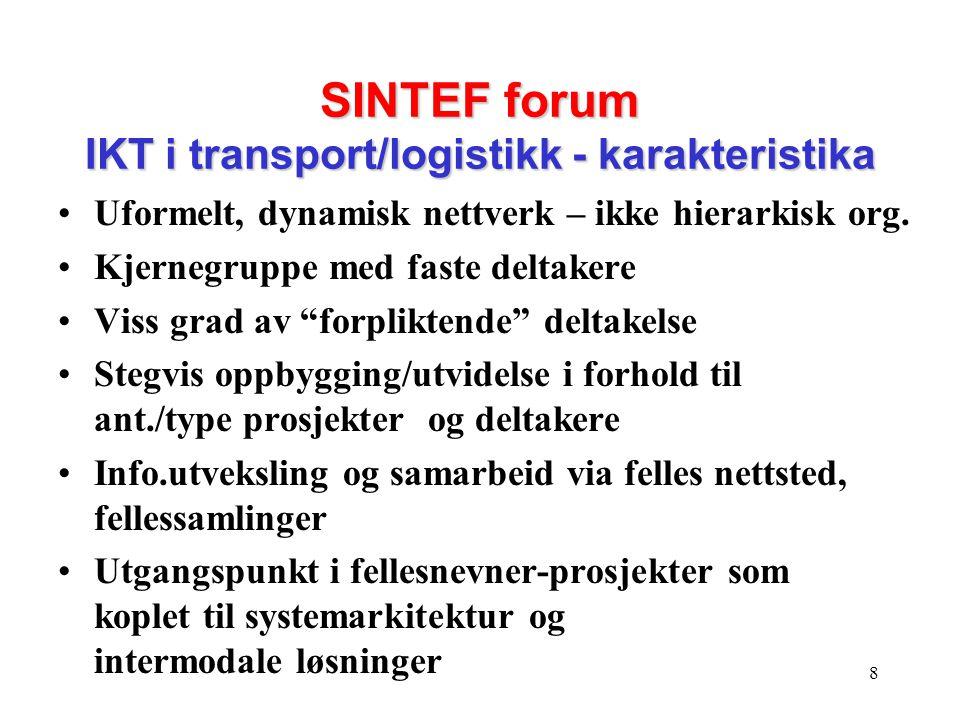 8 SINTEF forum IKT i transport/logistikk - karakteristika •Uformelt, dynamisk nettverk – ikke hierarkisk org. •Kjernegruppe med faste deltakere •Viss