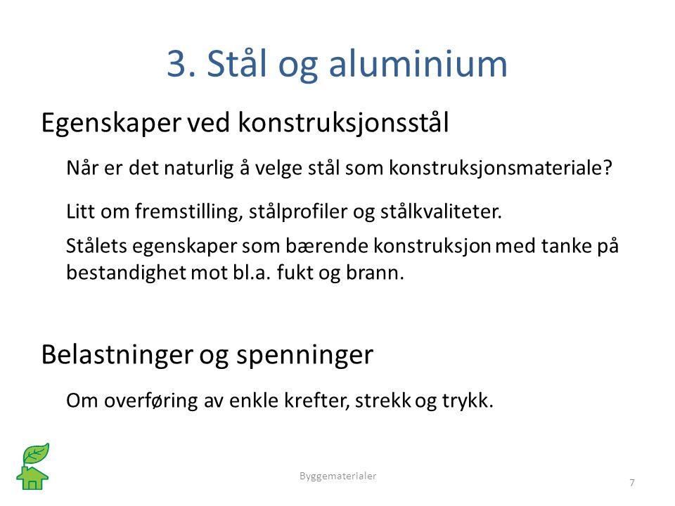 3. Stål og aluminium Egenskaper ved konstruksjonsstål Når er det naturlig å velge stål som konstruksjonsmateriale? Litt om fremstilling, stålprofiler