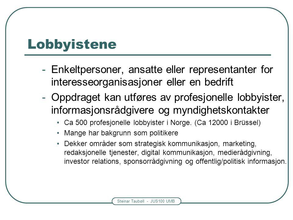 Steinar Taubøll - JUS100 UMB Lobbyistene -Enkeltpersoner, ansatte eller representanter for interesseorganisasjoner eller en bedrift -Oppdraget kan utf