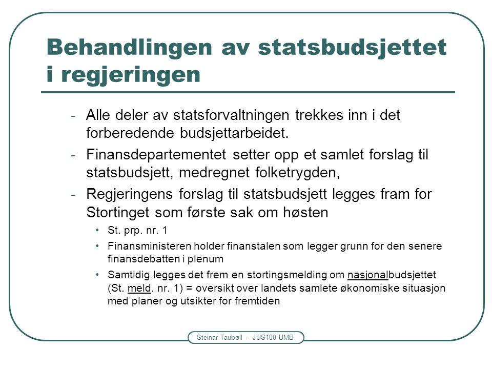 Steinar Taubøll - JUS100 UMB Behandlingen av statsbudsjettet i regjeringen -Alle deler av statsforvaltningen trekkes inn i det forberedende budsjettar