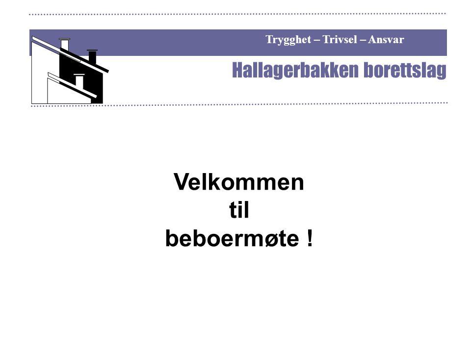 Trygghet – Trivsel – Ansvar Hallagerbakken borettslag Velkommen til beboermøte !
