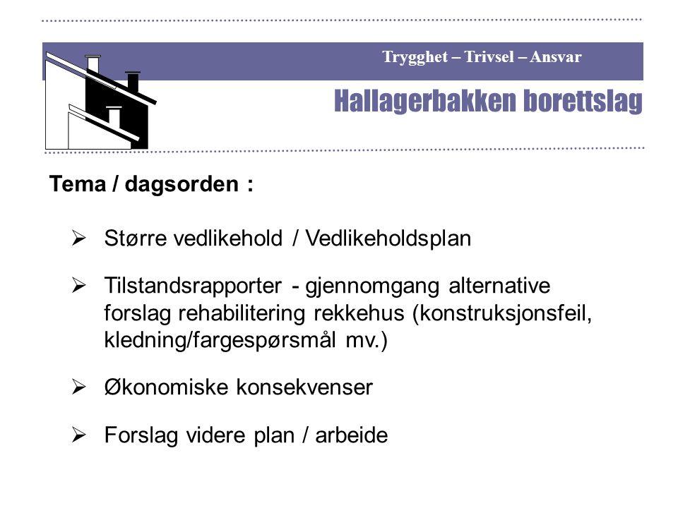 Trygghet – Trivsel – Ansvar Hallagerbakken borettslag Tema / dagsorden :  Større vedlikehold / Vedlikeholdsplan  Tilstandsrapporter - gjennomgang al