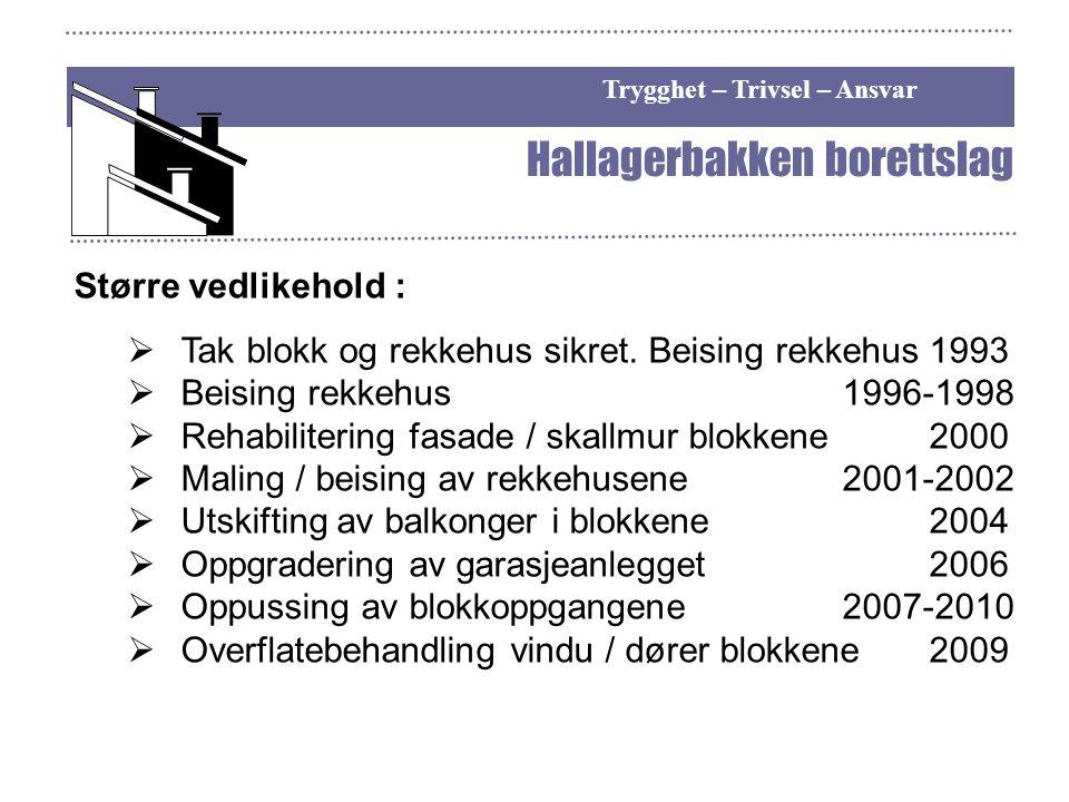 Trygghet – Trivsel – Ansvar Hallagerbakken borettslag Større vedlikehold :  Tak blokk og rekkehus sikret. Beising rekkehus1993  Beising rekkehus 199