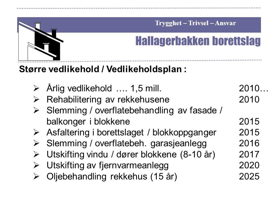Trygghet – Trivsel – Ansvar Hallagerbakken borettslag Større vedlikehold / Vedlikeholdsplan :  Årlig vedlikehold …. 1,5 mill.2010…  Rehabilitering a