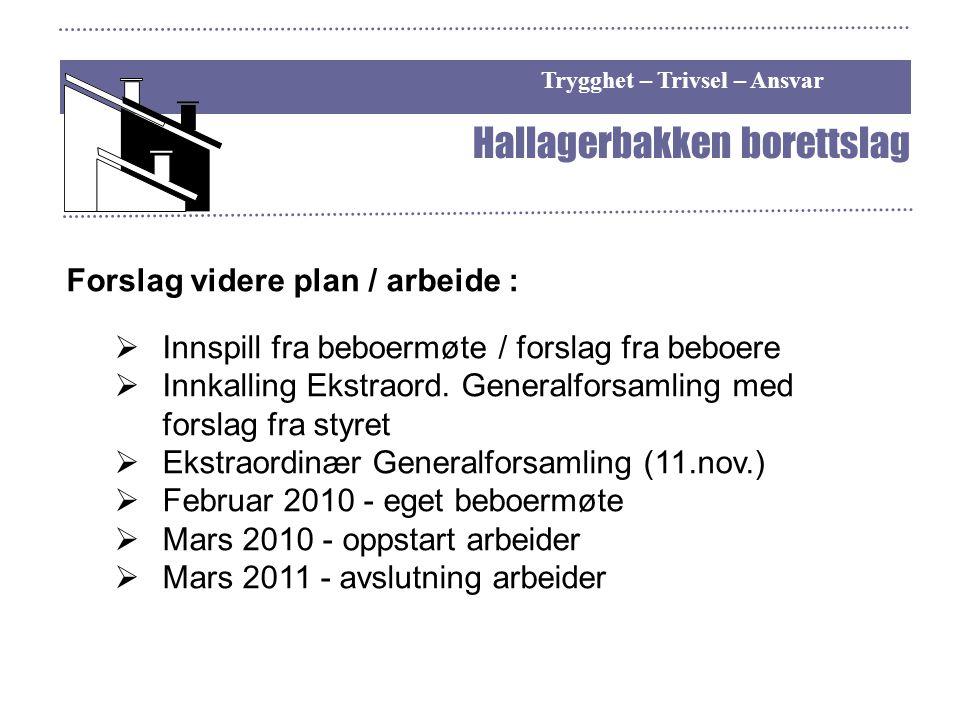 Trygghet – Trivsel – Ansvar Hallagerbakken borettslag Forslag videre plan / arbeide :  Innspill fra beboermøte / forslag fra beboere  Innkalling Eks