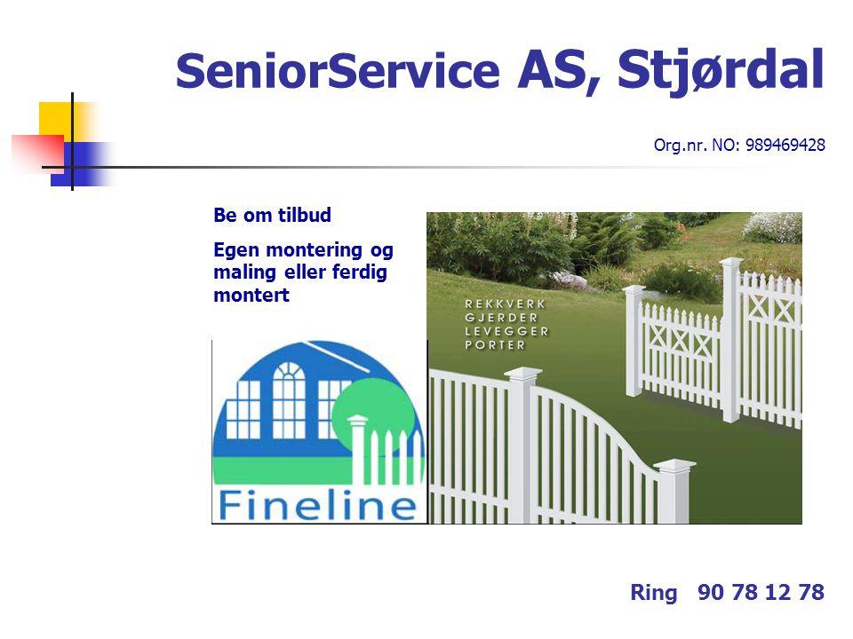 SeniorService AS, Stjørdal Org.nr. NO: 989469428 Ring 90 78 12 78 Be om tilbud Egen montering og maling eller ferdig montert