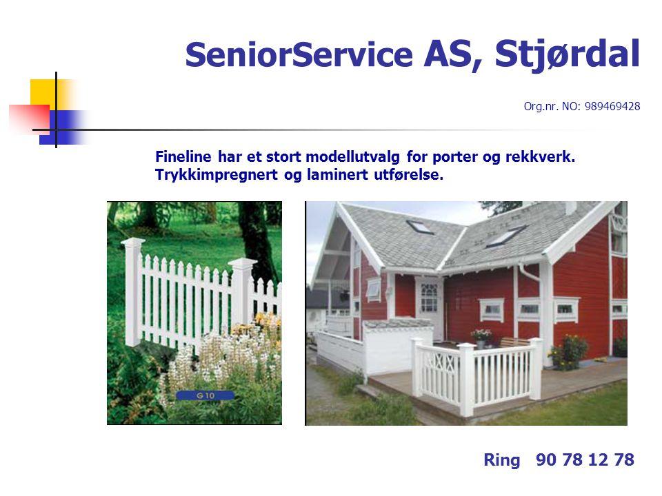 SeniorService AS, Stjørdal Org.nr. NO: 989469428 Ring 90 78 12 78 Fineline har et stort modellutvalg for porter og rekkverk. Trykkimpregnert og lamine