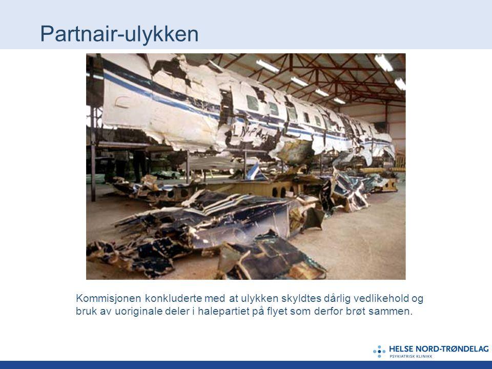 Partnair-ulykken Kommisjonen konkluderte med at ulykken skyldtes dårlig vedlikehold og bruk av uoriginale deler i halepartiet på flyet som derfor brøt