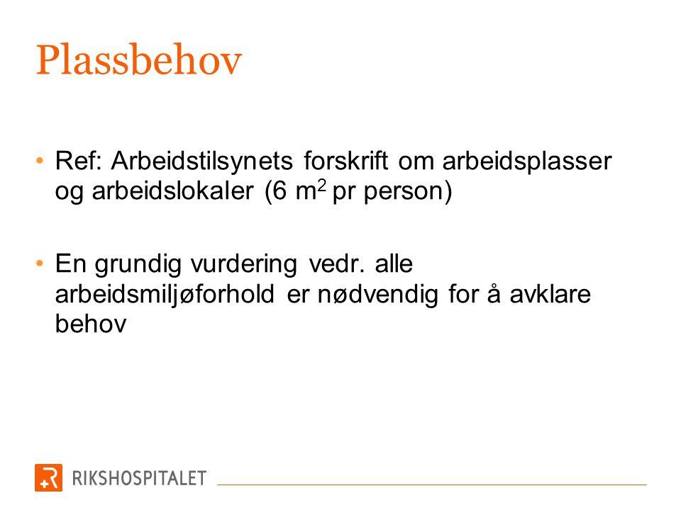Plassbehov •Plass til aktuelt utstyr og personer •Tegninger bør inneholde alt utstyr i rommet (NB.