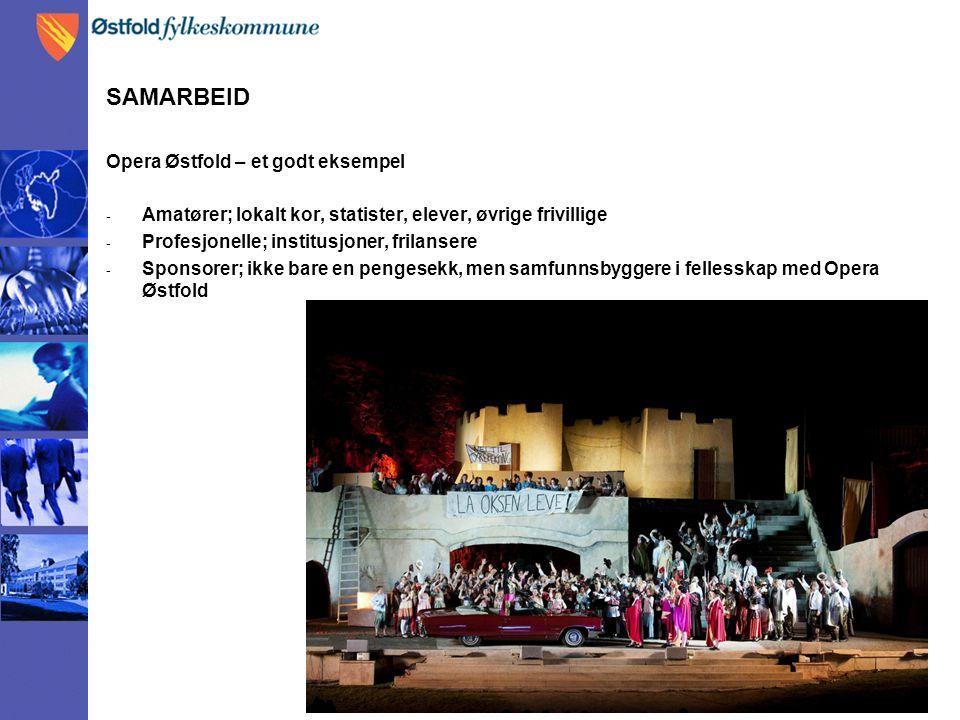 SAMARBEID Opera Østfold – et godt eksempel - Amatører; lokalt kor, statister, elever, øvrige frivillige - Profesjonelle; institusjoner, frilansere - Sponsorer; ikke bare en pengesekk, men samfunnsbyggere i fellesskap med Opera Østfold