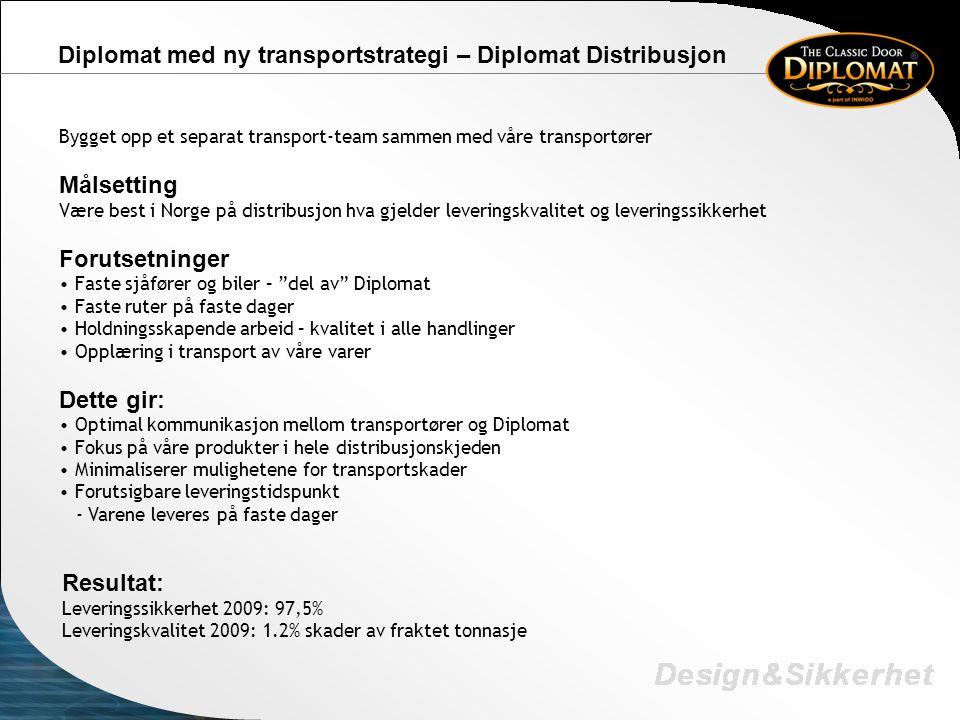 Diplomat med ny transportstrategi – Diplomat Distribusjon Bygget opp et separat transport-team sammen med våre transportører Målsetting Være best i No
