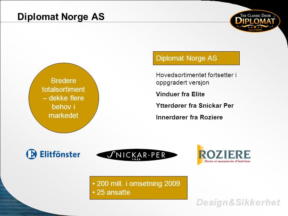 Diplomat Norge AS • 200 mill. i omsetning 2009 • 25 ansatte Diplomat Norge AS Hovedsortimentet fortsetter i oppgradert versjon Vinduer fra Elite Ytter