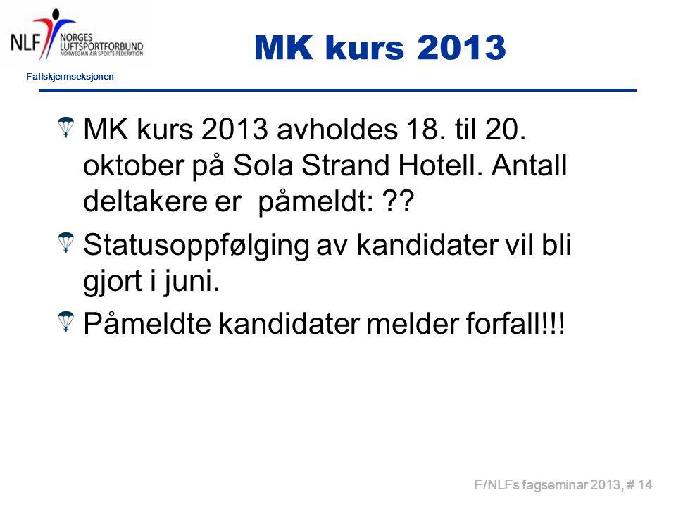 Fallskjermseksjonen F/NLFs fagseminar 2013, # 14 MK kurs 2013 MK kurs 2013 avholdes 18.