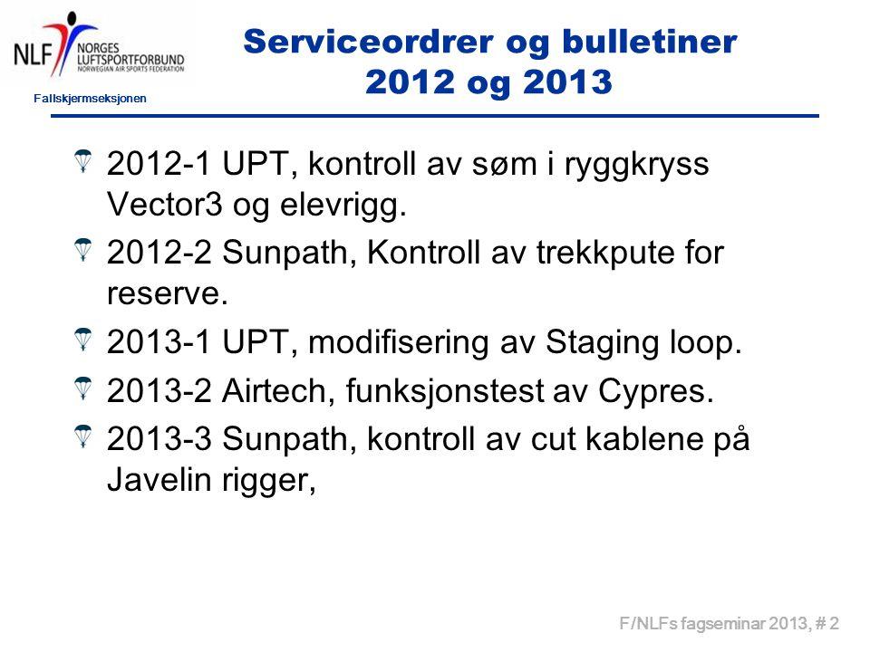 Fallskjermseksjonen F/NLFs fagseminar 2013, # 2 Serviceordrer og bulletiner 2012 og 2013 2012-1 UPT, kontroll av søm i ryggkryss Vector3 og elevrigg.