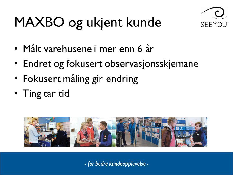 - for bedre kundeopplevelse - MAXBO og ukjent kunde • Målt varehusene i mer enn 6 år • Endret og fokusert observasjonsskjemane • Fokusert måling gir e