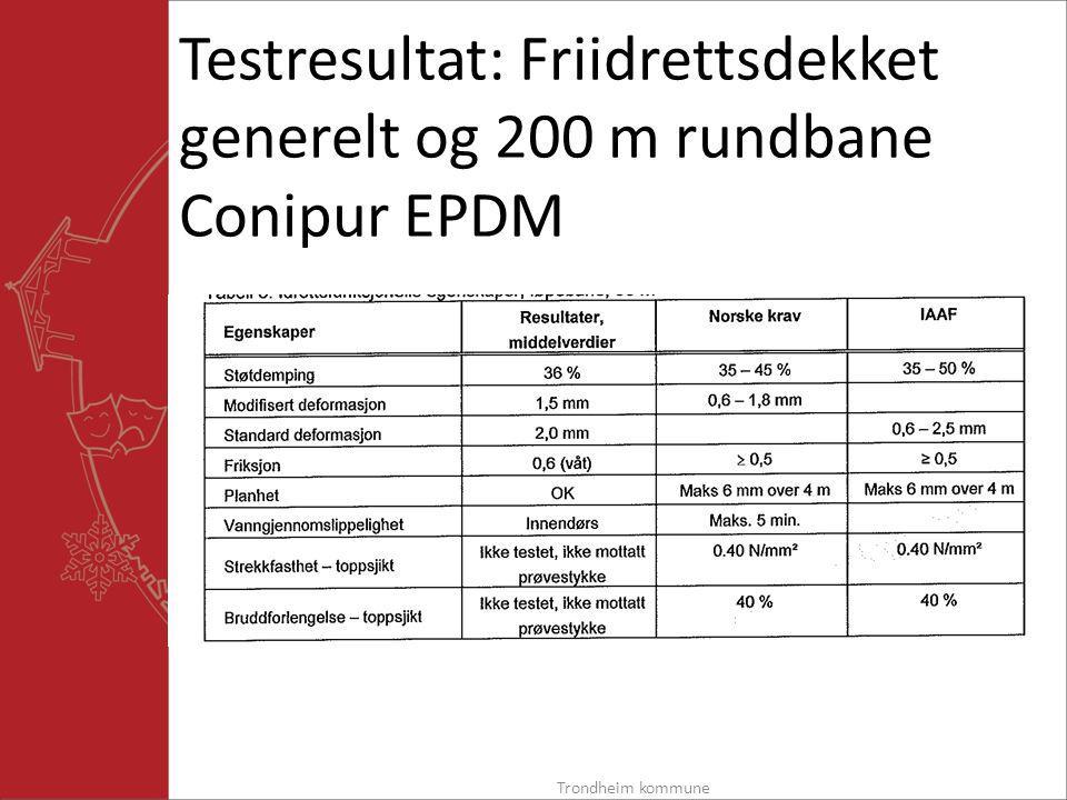 Testresultat: Friidrettsdekket generelt og 200 m rundbane Conipur EPDM Trondheim kommune