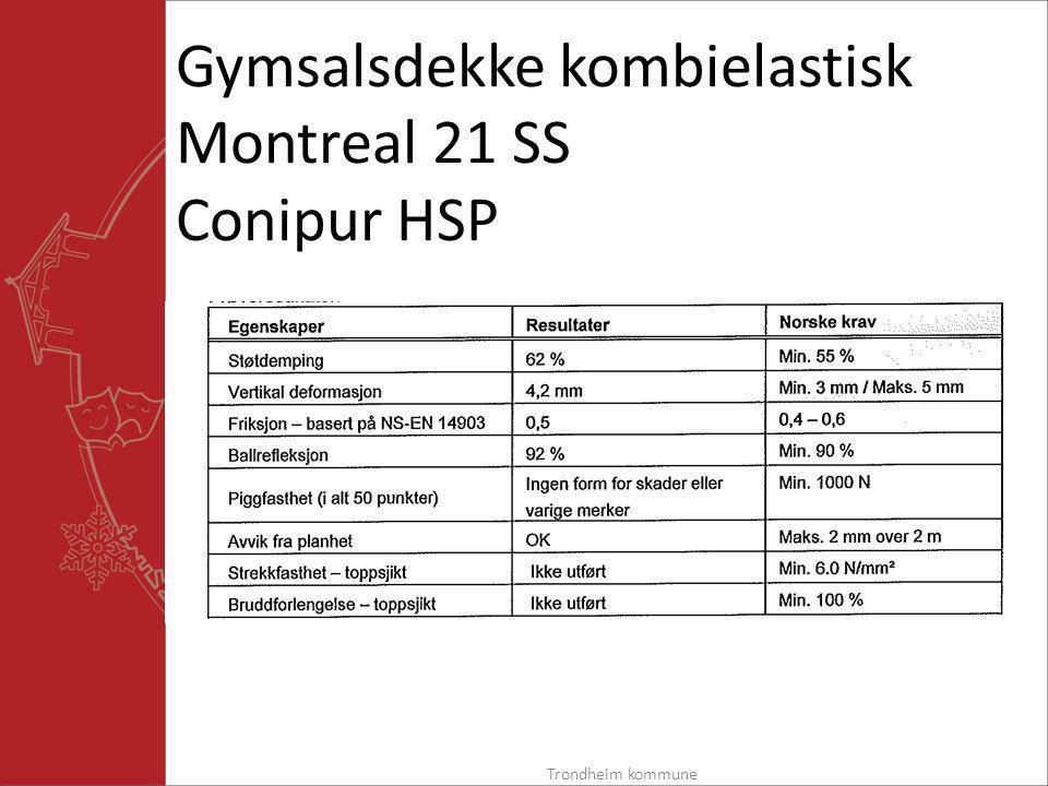 Gymsalsdekke kombielastisk Montreal 21 SS Conipur HSP Trondheim kommune