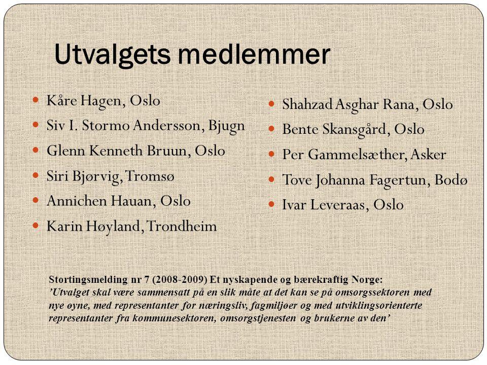 Utvalgets medlemmer  Kåre Hagen, Oslo  Siv I. Stormo Andersson, Bjugn  Glenn Kenneth Bruun, Oslo  Siri Bjørvig, Tromsø  Annichen Hauan, Oslo  Ka