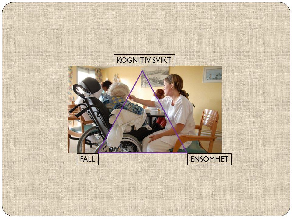 FALL ENSOMHET KOGNITIV SVIKT Samhandling med andre forsinker svekkelse av mange funksjonsevner Bedre mental og fysisk helse reduserer ulykkesrisiko Reduseres frykten for fall øker deltakelsen i sosiale fellesskap Vi ønsker alle å være til stede i eget liv, selvhjulpne, med trygghet i egen, praktisk bolig, i et omsorgsfullt nærmiljø, så lenge som mulig!